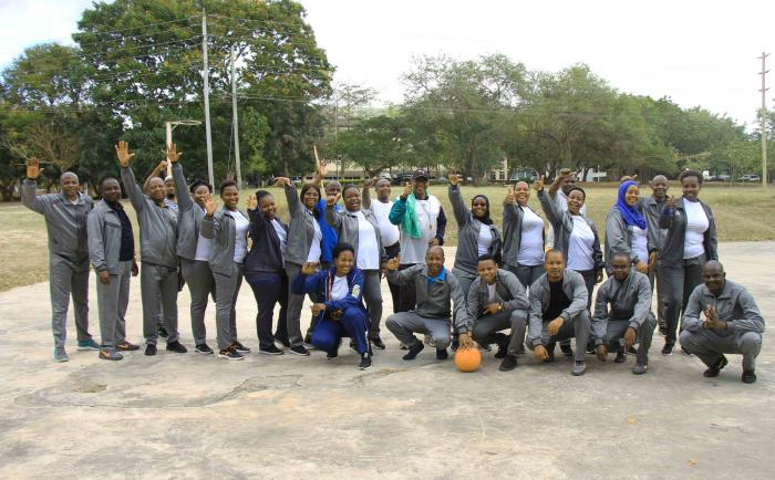 Tanzania Education Authority(TEA) staff in souvenir group photo during the Corporate Sport Bonanza held on 3rd September 2021 at Ardhi University